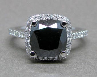 Cushion Cut Black Natural Diamond Halo Engagement Ring 14k White Gold 8mm Halo 3.0ct Total Weight