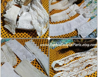 Antique French Lace Eging Lot Collar Tier Trim White French Cotton Lace Antique Haberdashery Sewing Project #sophieladydeparis