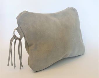Dove Grey Gray Suede Clutch Bag/Purse