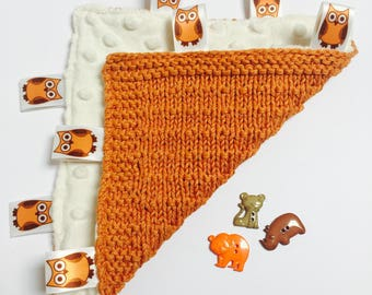 Orange hand knitted taggy blanket, newborn gift, baby shower gift .