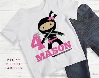 Ninja Birthday Shirt, Ninja Birthday Shirts, T Shirt Transfers, T Shirt Iron On Transfer / No.408