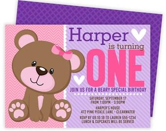 Teddy Bear Invitation, Teddy Bear 1st Birthday, Bear Invitation, Bear Birthday Party, Teddy Bear Invite, Bear Birthday Invitation | 472
