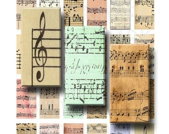 SALE- Sheet Music - Digital Collage Sheet - 1 x 2 inch Domino - INSTANT DOWNLOAD