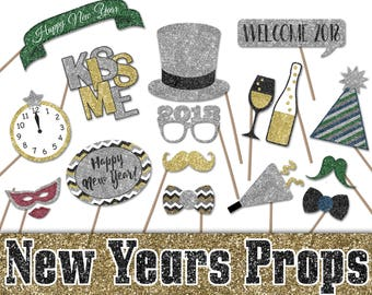 New Years Photo Booth Props - 2018 New Years Eve Printable Decorations and Banner - Over 40 Glitter Images - INSTaNT DOWNLoAd