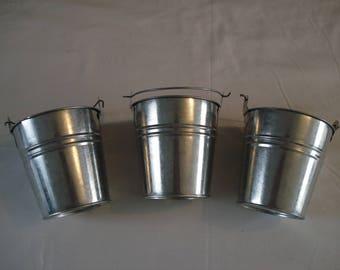 Set of 3 buckets zinc 11cm