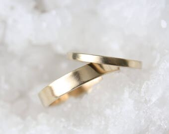 Gold Wedding Ring Set - 14k Gold matching wedding bands - His and Hers - Eco Friendly Recycled Gold - Matching Gold Wedding Rings