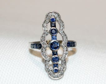 9ct and Sterling Silver Sapphire and Diamond Dress Ring