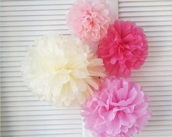 20x Pinks Cream Tissue Paper Pom Pom Wedding Baby Shower Party Engagement Bridal Shower Nursery Home Decor Girl 1st Birthday