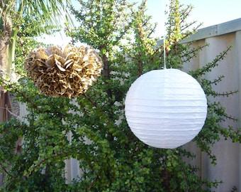 Leopard Pom Poms & White Paper Lanterns for Safri 1st Birthday Party Baby Shower Bachelorette Party Hen Party Venue Decoration