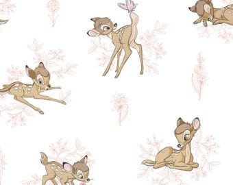 Disney BAMBI and Butterfly By-the-HALF-Yard Pink and White 100% cotton Quilt Fabric from Camelot Fabrics deer fawn