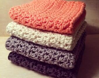 Crochet Dishcloths Set   handmade, coral, grey, gray, white, kitchen, gift