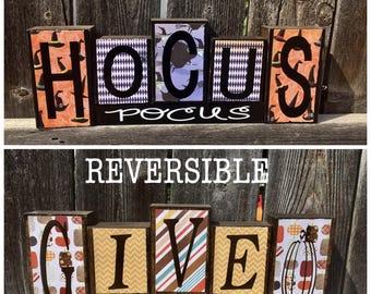 SALE--Reversible Halloween and Thanksgiving wood blocks-Hocus Pocus reverses with Give Thanks, Halloween Blocks, Fall blocks
