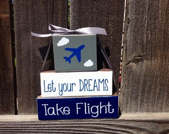 Let Your Dreams take flight wood blocks-boys nursery, boys room, airplanes
