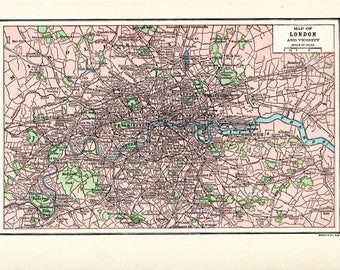 1910 Map of LONDON and Vicinity