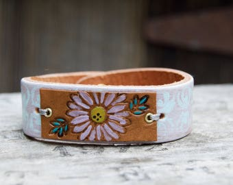 Distressed Leather On Leather Bracelet . Stamped Flowers. Boho. South Western Design. Cowgirl . Bracelet. Boho . By Nin and Bumm