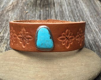 Distressed Kingman Turquoise Leather &Sterling . Boho. South Western Design. Cowgirl . Bracelet. Boho . By Nin and Bumm
