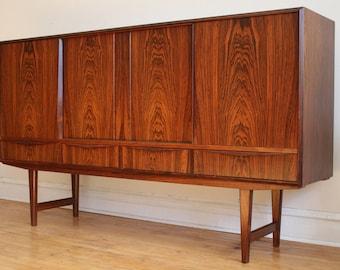 Mid Century Danish Modern Rosewood Tall Sideboard