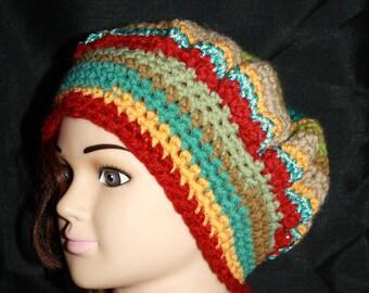beret multicolor wool, acrylic, 2 stripes asymmetry