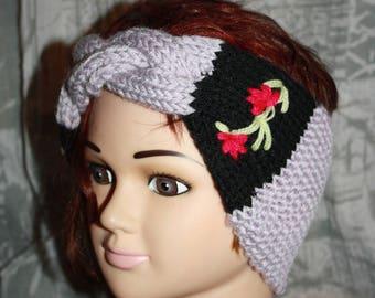 Purple and black, very nice headband with braided Center AUDREY