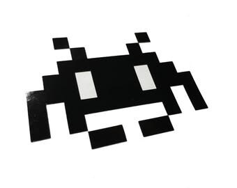Space Invader Black REFLECTIVE Window Transfer Decal 2x3