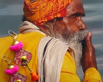 Bohemian dangle earrings - hippie chic - bohemian earrings gypsy - folk - earrings - boho beach - FUJIGIRLS tassels