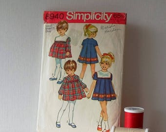 Vintage Simplicity Pattern 8940 Size 6 Childs Dress 1970