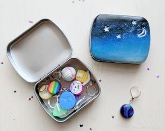 Starry Night tin. Rectangular Storage tin. Stitch Marker tin. Needle tin. Handmade. Polymer Clay. Ready to ship.