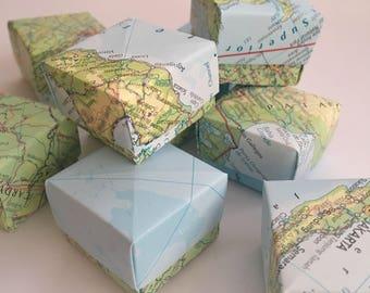 20 mini origami favour boxes map travel theme