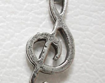 1 treble clef Charm - Silver-plated musical Note