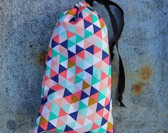 Sesh bag- triangle pattern padded purse stash sack