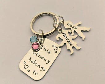 Personalised Granny gift - Granny keyring - This Granny belongs to - Granny present - Granny keychain - Nan Nana Nanny Grandma gift