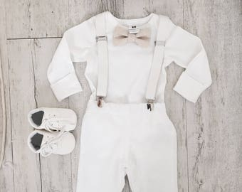 Baby boy Baptism outfit with white onesie, suspenders and bow tie in natural linen or grey/white/blue cotton and matching pants or shorts