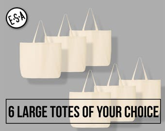 6 Large Totes Of Your Choice. Reusable Grocery Tote.