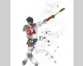 David Ortiz inspired ART PRINT illustration, Boston Red Sox, Baseball, Sport, Wall Art, Home Decor, Gift