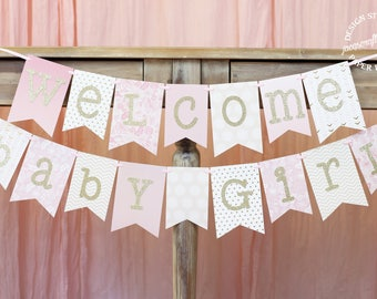 Pink and Gold Baby Shower Banner | Welcome Baby Girl