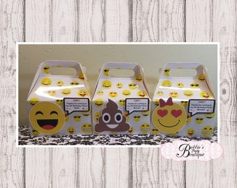 Emoji Party boxes, 10 Emoji favor gable box, Emoji favor box