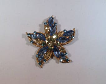 Yellow and Light Blue Brooch signed Weiss