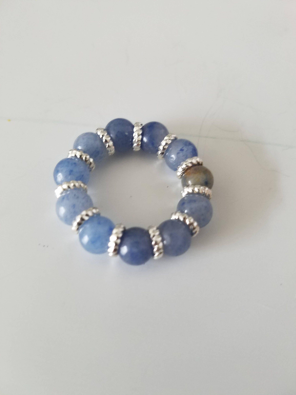 BLUE AVENTURINE Ring  Crystal Ring   Blue Ring   Blue & Silver ...