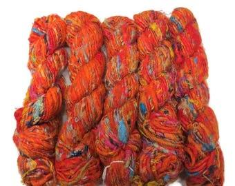 SALE Premium Recycled Sari Silk Yarn,  Orange Mix
