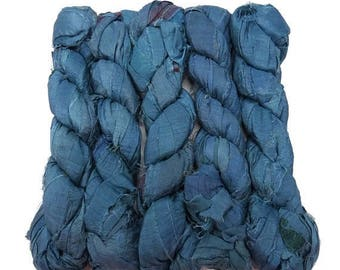 SALE New! Recycled Sari Silk Ribbon, 100g skeins , Steel Blue