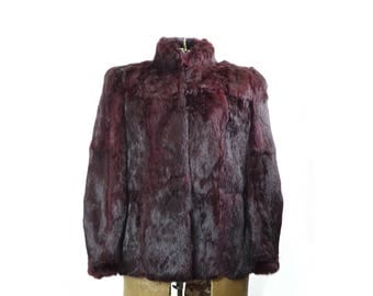 Fur Coat, Rabbit Fur Coat, Red Fur Coat, Vintage Fur Coat, Vintage Clothing, Womens Fur Coat, Maroon Coat, Size Medium Coat