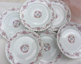 O&EG Royal Austria Pink Floral China Luncheon Plates Set of 6