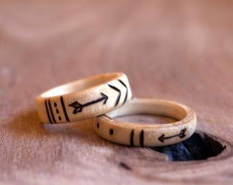 Tribal Rings, Stacked Ring Set, Wooden Rings, Wood Rings, Ring Set, Wooden Ring Set, Arrow Ring, Wood Burned Ring, Pyrography