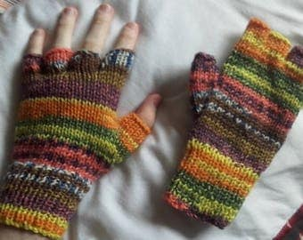Hand Knitted multi-coloured fingerless gloves