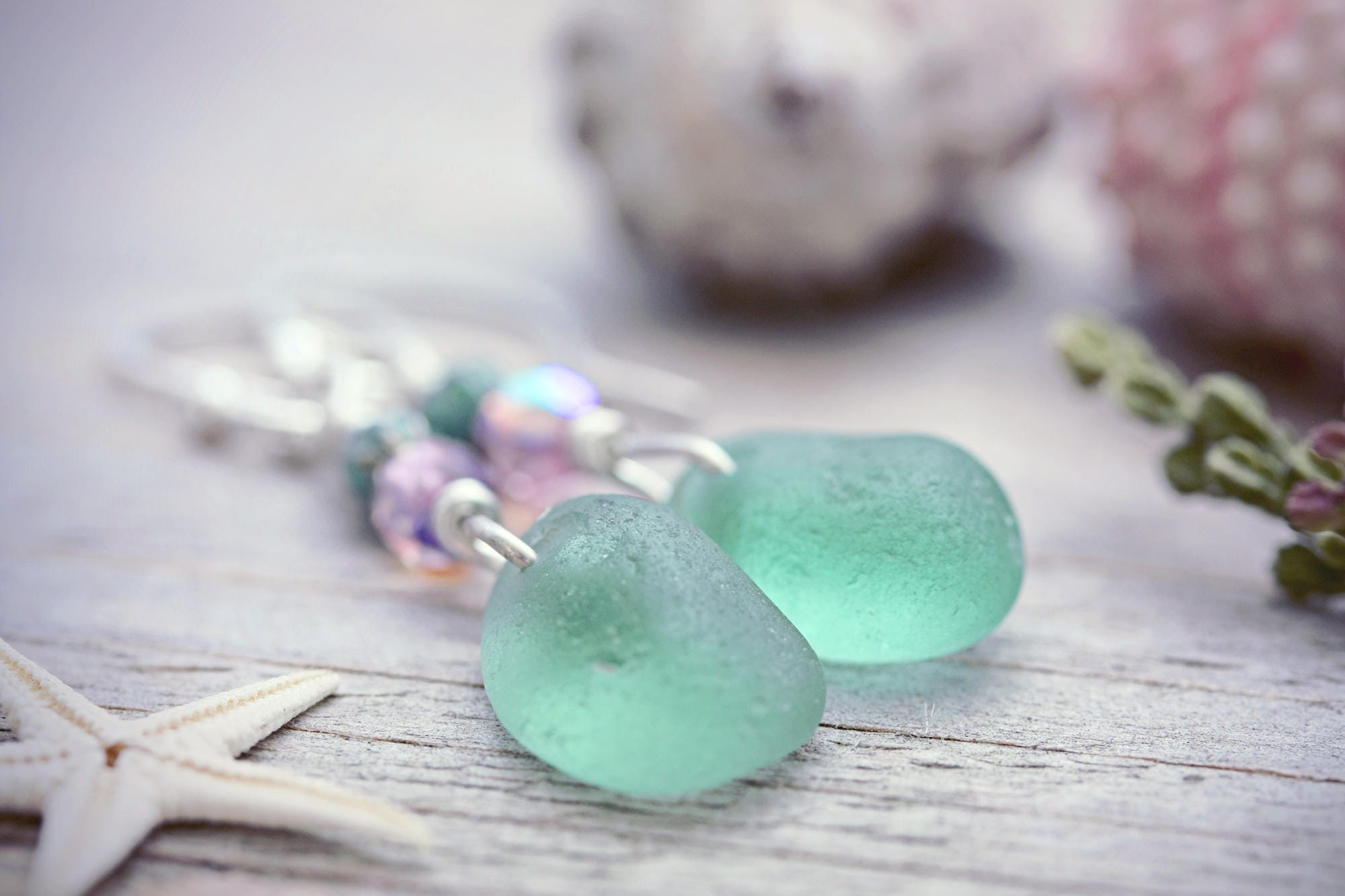 Mermaid Tears Seaglass Earrings Sea Glass Jewellery Turquoise  # Terrarium Dangle