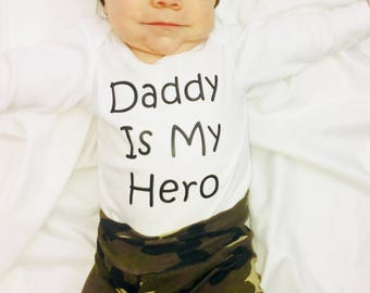 Baby Camo Outfit - Camo - Camo Baby Outfit - Military Baby Outfit - Boys - Daddy Is My Hero