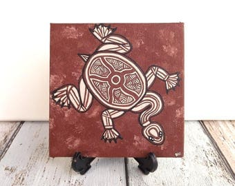Turtle Artwork, Original Painting, Aboriginal Art, Acrylic paint on canvas board, earth colours, 10cm x 10cm