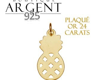 Charm 19.7 X 9.2 mm 925 sterling silver plated yellow gold shaped pineapple