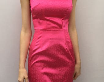 Hot Pink Pencil Dress UK size 6-8 Barbie pink retro style party dress with pencil skirt by The Emperor's Old Clothes