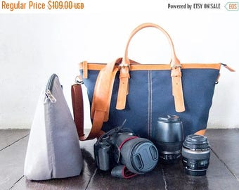 SUMMER SALES Dslr Camera Bag with Insert with shoulder strap - genuine Leather and canvas shoulder bag - tote bag - Leather with canvas - Na